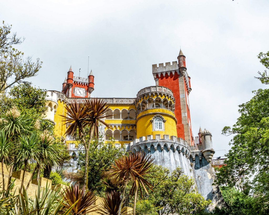 The famous yellow and red Pena Palace near Sintra.