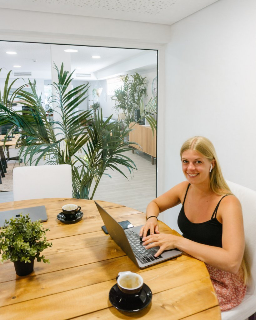 Jo coworking in an office space at LaPoint surf camps!