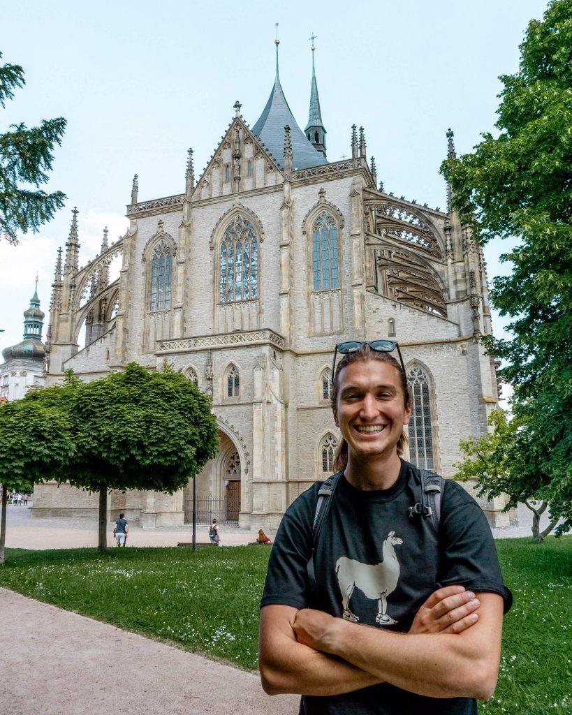 Dom enjoying the view of St Barbara's Cathedral in Kutna Hora.
