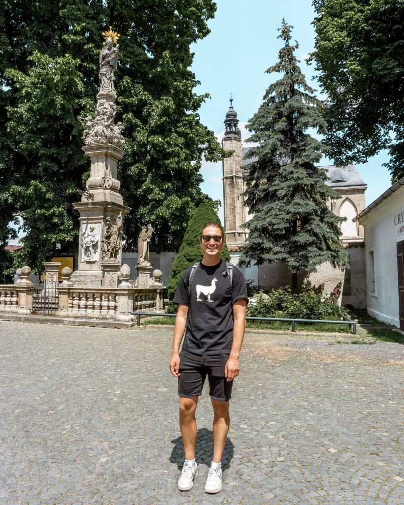 Dom exploring the small city in Kutna Hora in the Czech Republic.